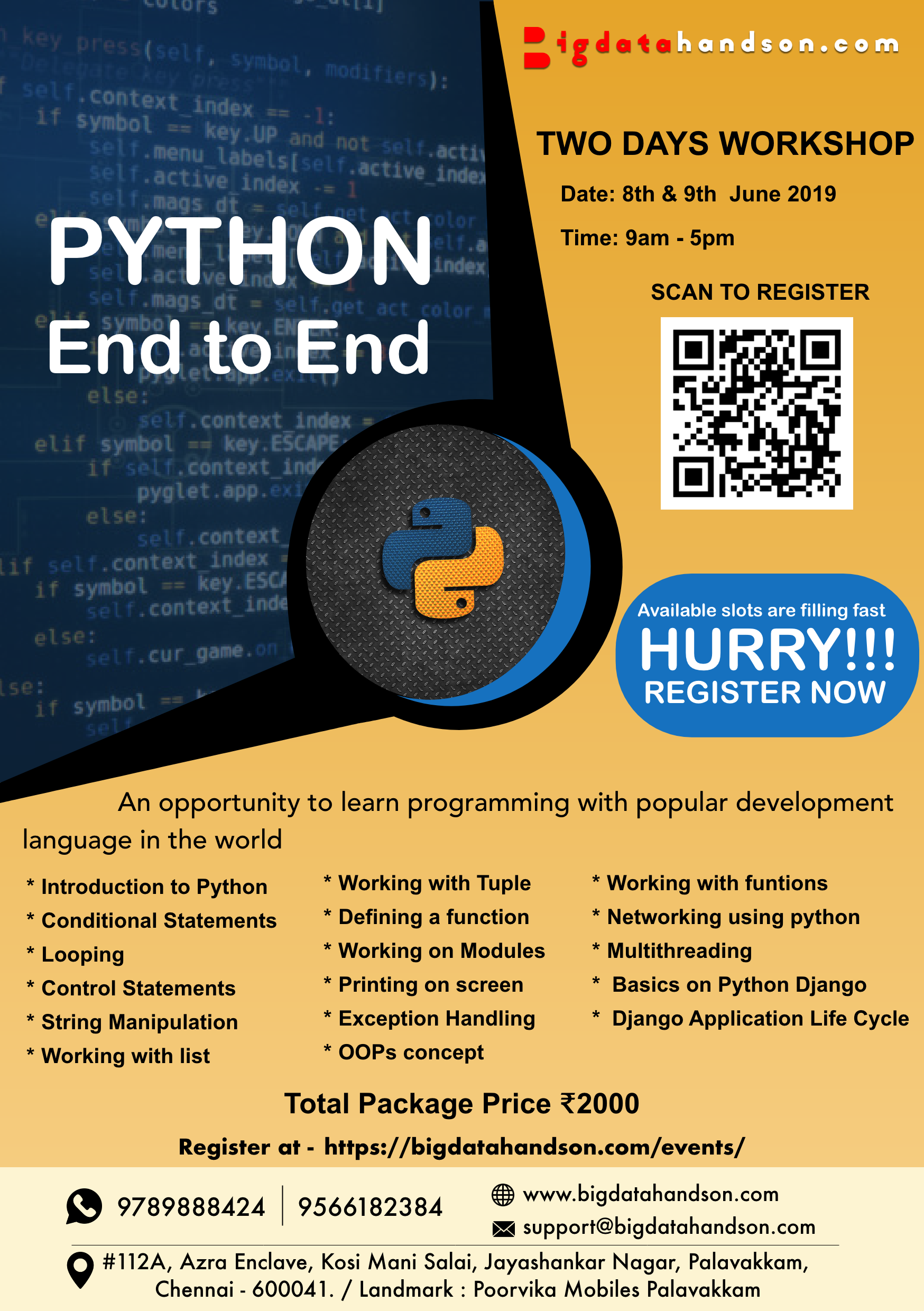 Two days Workshop on Python End to End in chennai @ bigdatahandson com on  8th and 9th June 2019